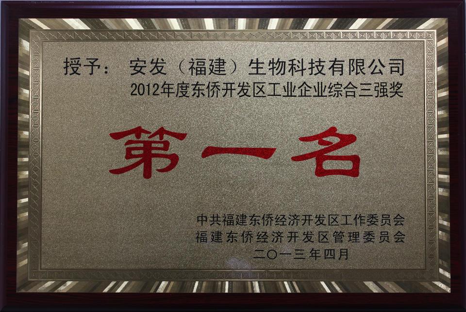 2012年度东侨开发区工业企业综合三强奖第一名